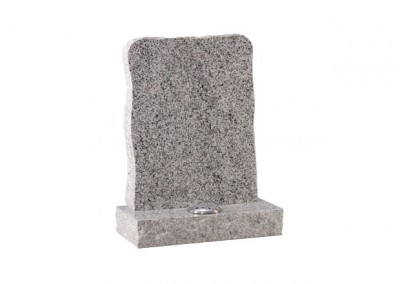 Light Grey granite memorial with pitched edge.