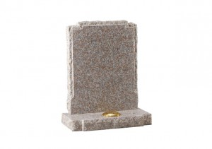 Autumn brown granite headstone with pitched side and check shaped shoulders.