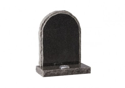 Dark Grey granite memorial with pitched side and matching margin.