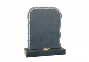 Dark Grey granite rustic shaped headstone with rustic shape and pitched sides.