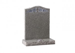 Light Grey granite headstone with carved and highlighted cross and roses.