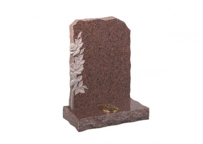 Balmoral Red granite memorial with carved roses on left.