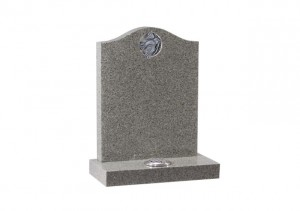 Karin light Grey granite headstone with carved and highlighted dove.
