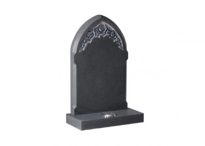 Dark Grey granite headstones with deep carved and highlighted roses.