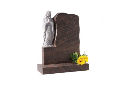 Twilight Red granite headstone with carved 'Our Lady' praying figure.