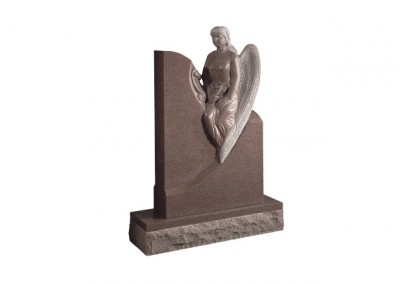Ruby Red granite headstone with carved angel memorial.