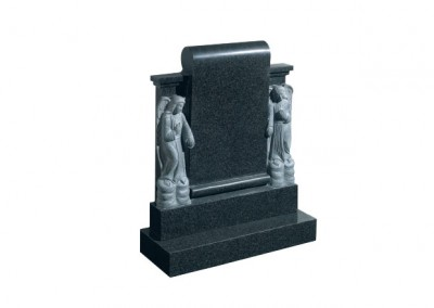 Dark Grey granite memorial with two carved angels either side of a scroll.