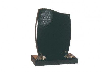 Black granite headstone with 'Morning's First Light' poem and Swarovski Crystals.