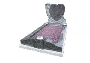 Bahama Blue granite kerb set memorial with carved angel, heart and roses.