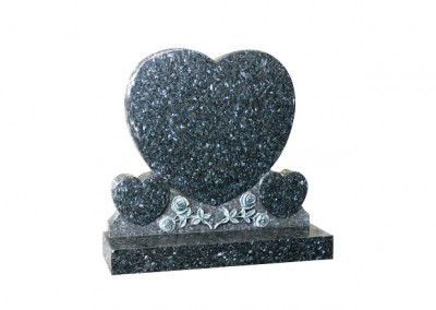 Blue Pearl granite memorial with triple heart and hand carved Roses design.