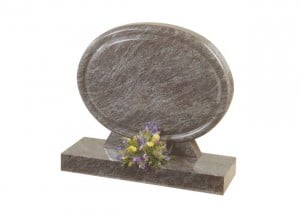 Bahama Blue granite oval headstone with polish rounded chamfered detail and base.