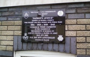 Patriots Avenue Plaque