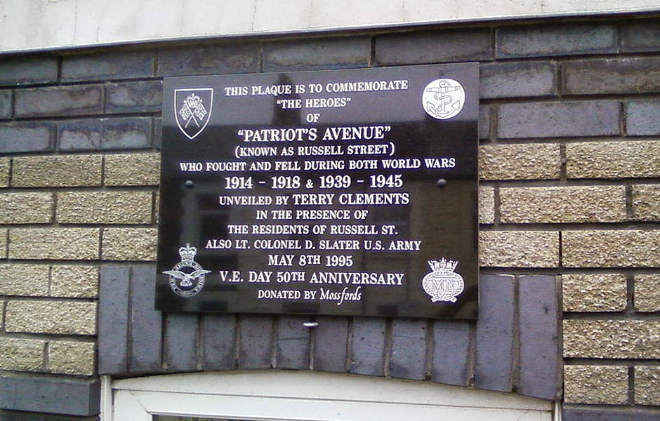 Patriots Avenue Plaque