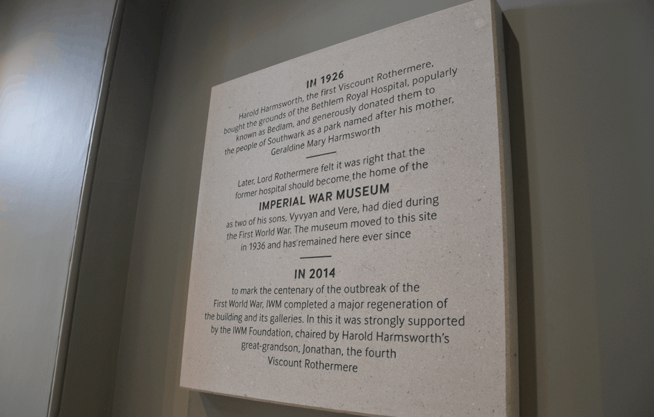 Imperial War Museum Plaque