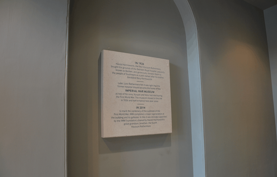 Imperial War Museum Commemorative Plaque