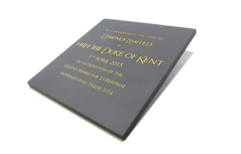 Commemorative plaque for Dawnus Limited