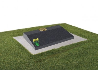 Black granite desk with painted daffodil design on concrete base.