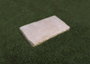Rectangular natural Limestone plaque with a pitched edge.