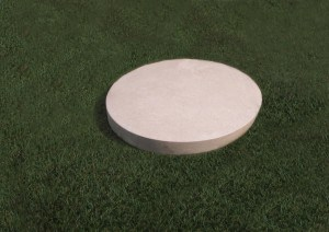 Round natural Limestone plaque with a smooth edge.