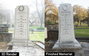 Llanelli war memorial design and finished product
