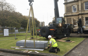 Llanelli war memorial being installed