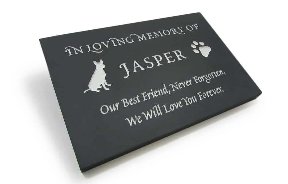 Bespoke Pet Memorial with a silhouette of Jasper and its pawn with and inscription