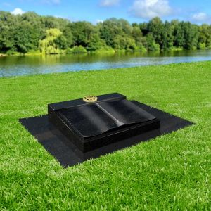 Black Granite South Bristol Book Memorial with Tassel and Matching Base