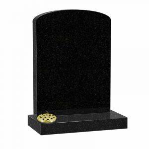 Arc top memorial in black granite