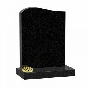 Half ogee top memorial headstone in black granite