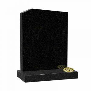 Offset peon top memorial headstone in black granite