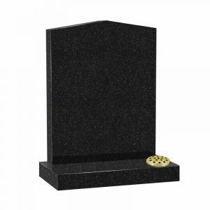 Peon top memorial headstone in black granite